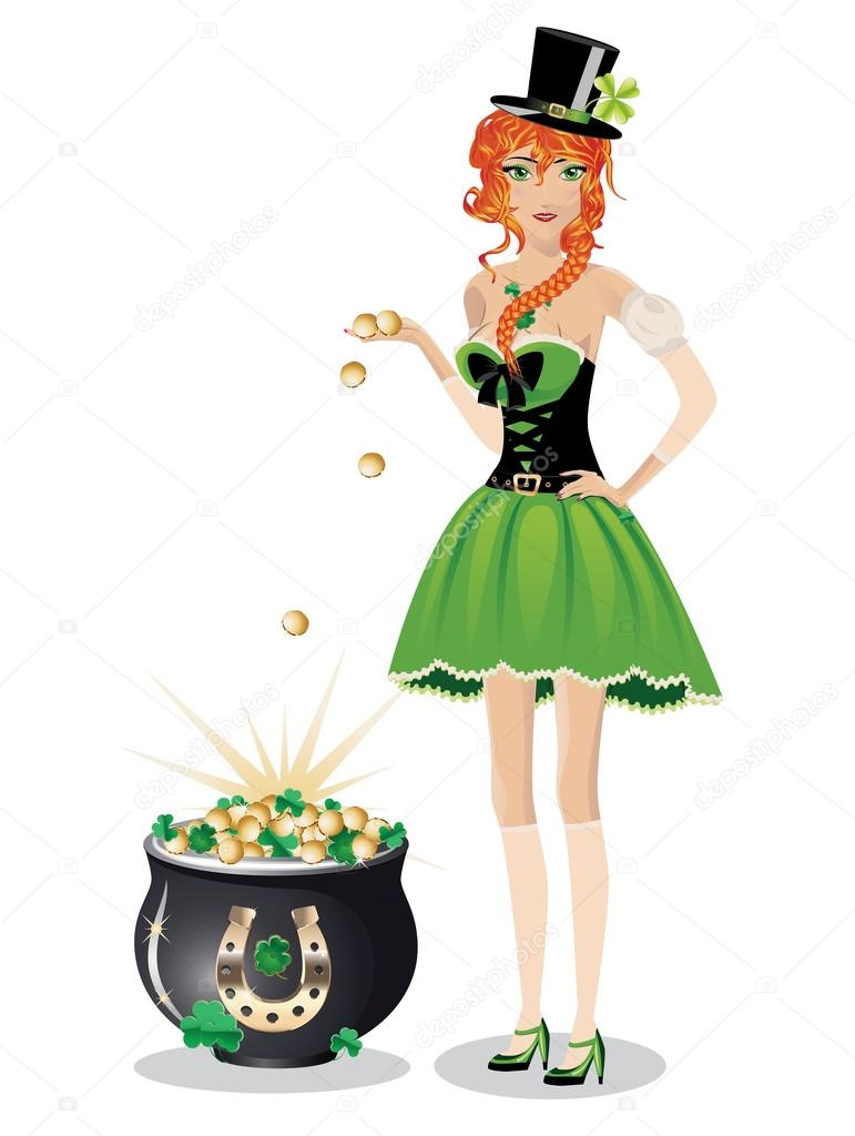 leprechaun girl with pot of gold — stock vector © artshock    beautiful red haired leprechaun girl   pot of gold coins on white background  — vector by artshock