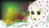 Květinová dívka s bílými vlasy