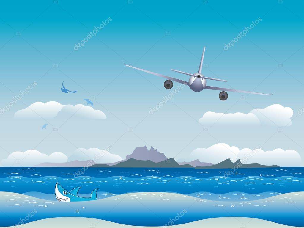 Airplane over Sea