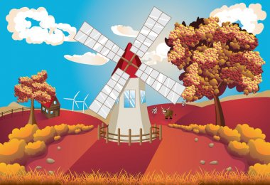 Autumn Landscape with Windmill