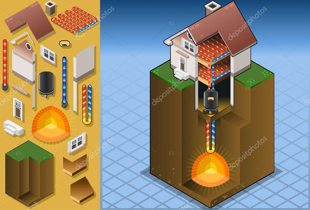 Geothermal Heat Pumpunderfloorheating Diagram Stock Vector