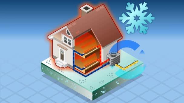 Isometrische Haus mit Klimaanlage in Wärmeerzeugung