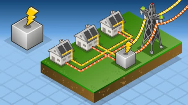 Isometric houses with solar panels in production of energy