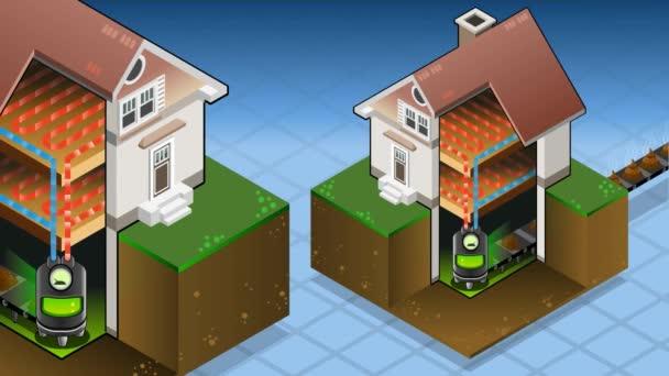 Isometrische Haus mit Bio-Kraftstoff-Kessels in heißen Produktion