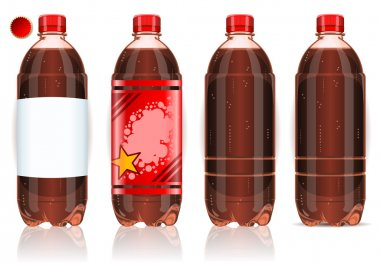 Four plastic bottles of cola with labels