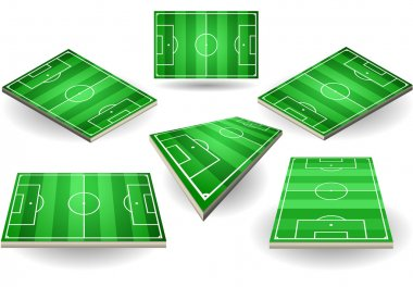 Set of Soccer fields in six different positions