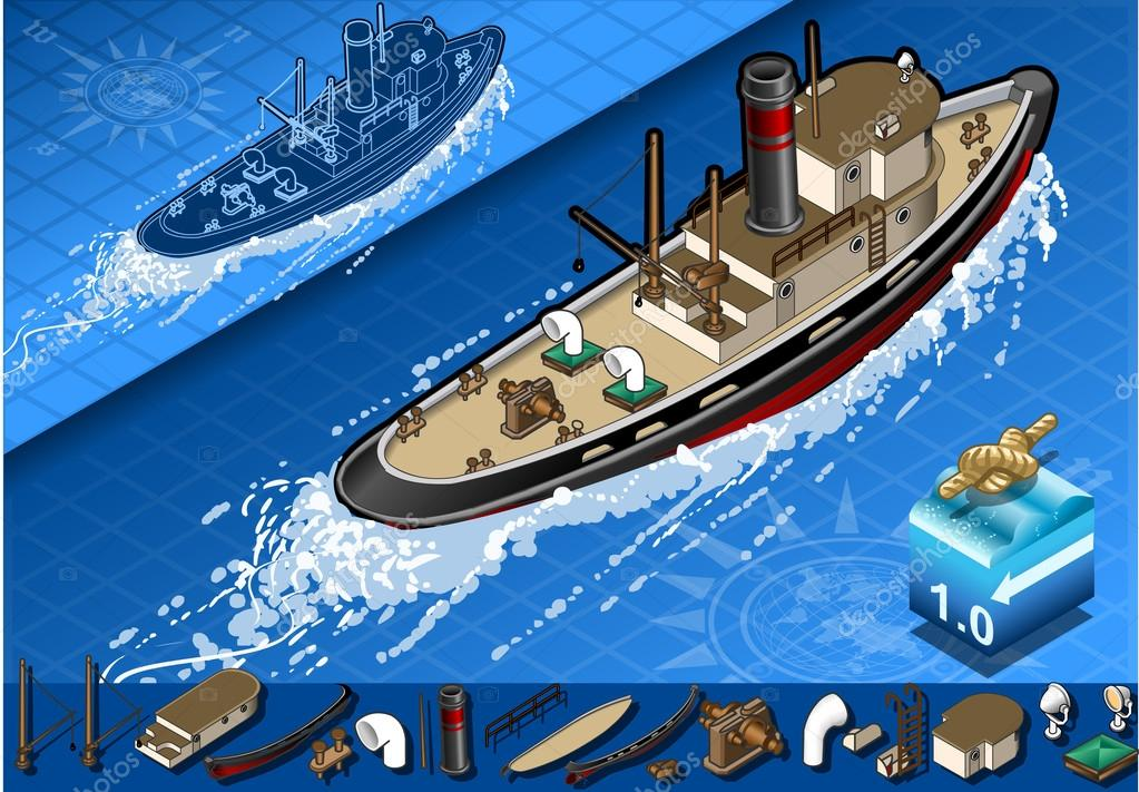 isometric old tugboat in navigation in rear view