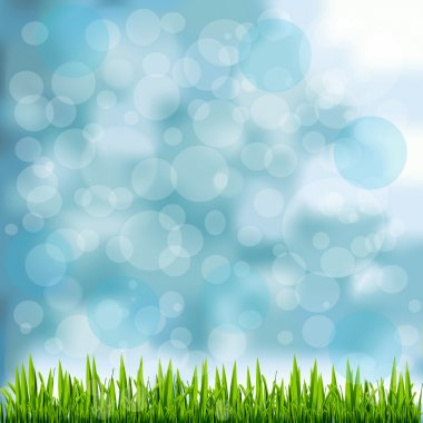 Grass Border On Natural Blue Background