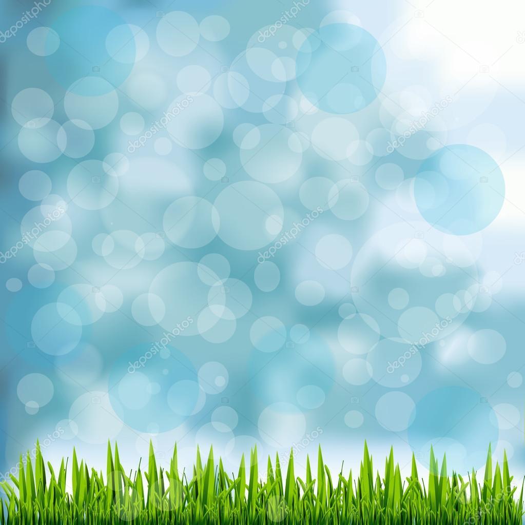 Grass Border On Natural Blue Background