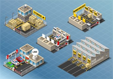 Isometric Set of Storage Buildings
