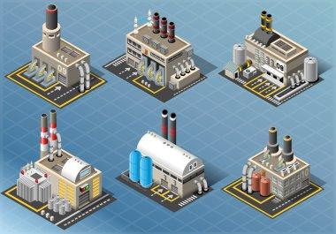 Isometric Set of Energy Industries Buildings