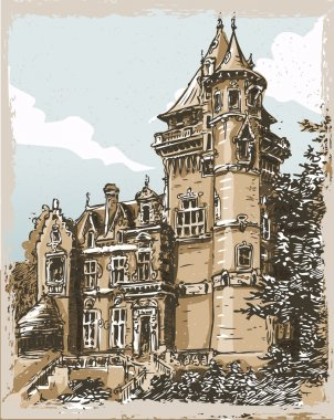 Vintage Hand Drawn View of Old Castle in Belgium