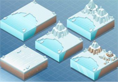 Isometric Arctic Terrain with Iceberg and Mount
