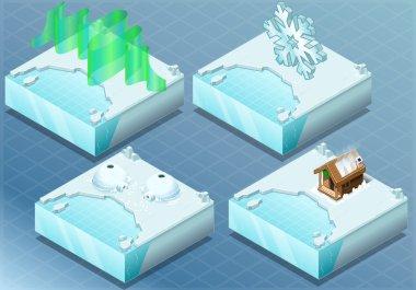 Isometric Arctic Igloo, Aurora, Sauna, Snow Flake