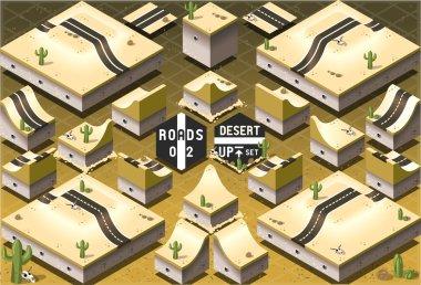 Isometric Roads on Two Levels Desert Terrain
