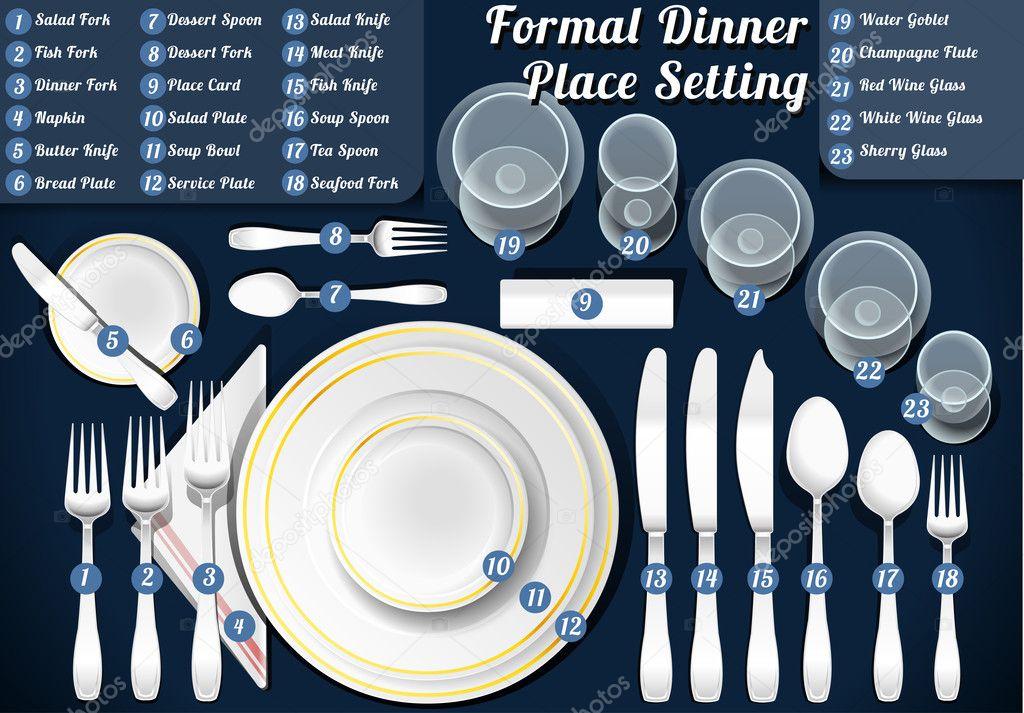 Set of Place Setting Formal Dinner — Stock Vector © aurielaki #46874769