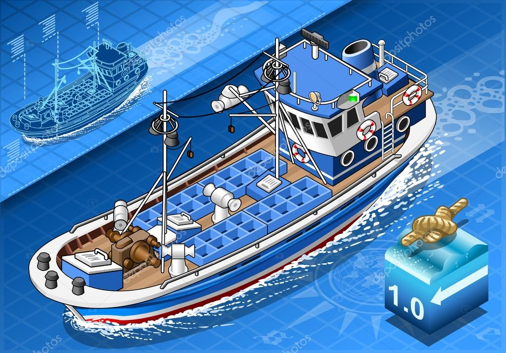 Isometric Fishing Boat in Navigation in Front View