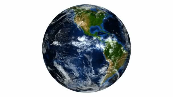 Erde drehen auf weißem Hintergrund hd ntsc pal