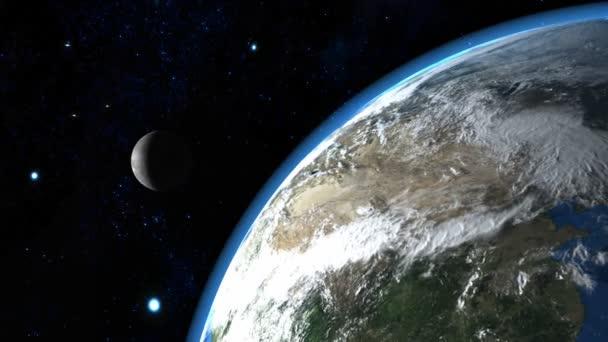 krásná země s měsícem v pozadí