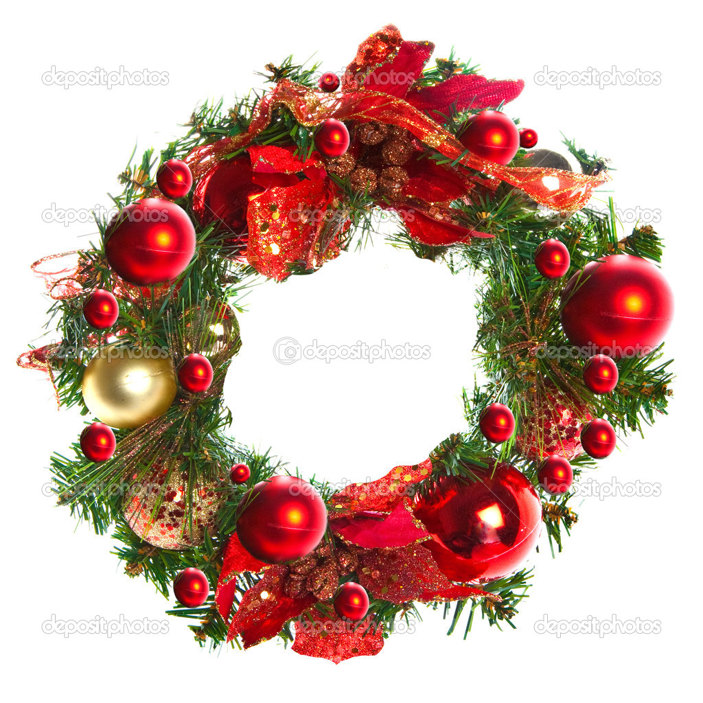guirnalda de Navidad rojo con adornos y cintas en blanco Fotos de