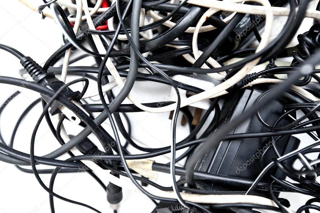 Mass of tangled up wires, connections and old cables. — Stock Photo ...