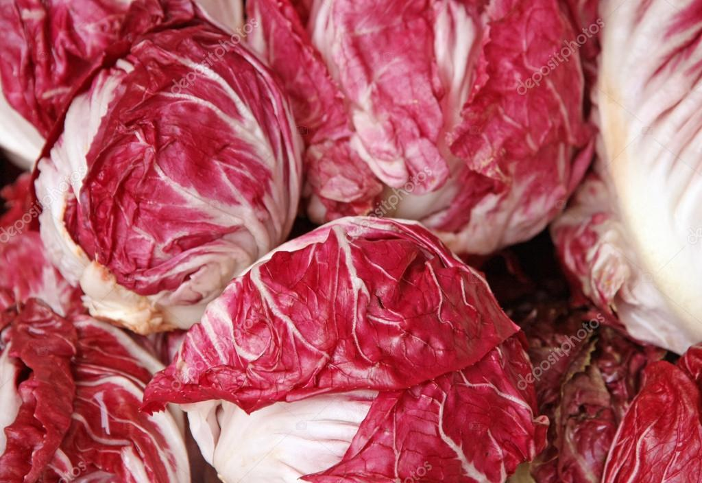 crunchy radicchio heads for sale at vegetable market