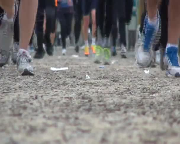 runners with sneakers around the city during the footrace