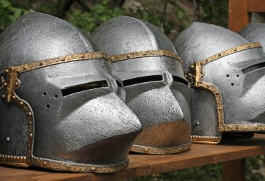 medieval helmets of ancient a mighty iron armor used by the Knig
