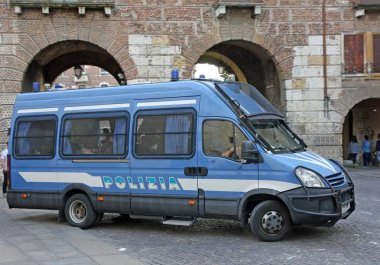 Armored van of the Italian police involved in a checkpoint in a