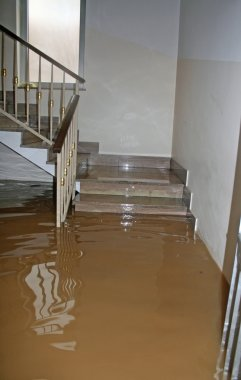 stair of a House fully flooded during the flooding of the river