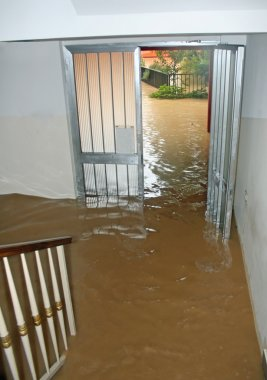 entrance of a House fully flooded during the flooding of the riv