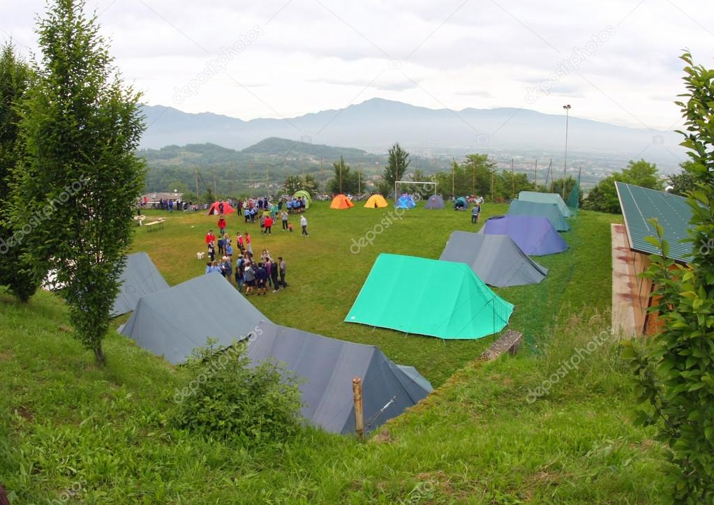 and tents in a scout camp