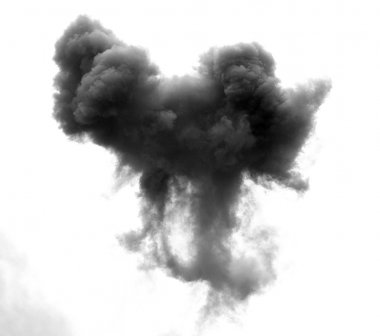 black cloud caused by an explosion of a bomb in the sky