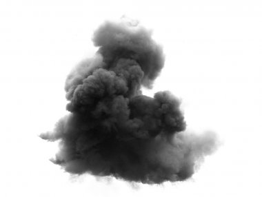 black cloud with a thick blanket of smoke high in the white sky