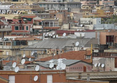 roofs of the metropolis with lots antenna for reception of telev