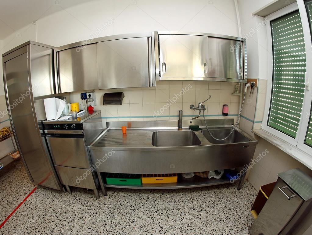 Cozinha Pia De A O Inoxid Vel Industrial De Uma Cantina De Escola