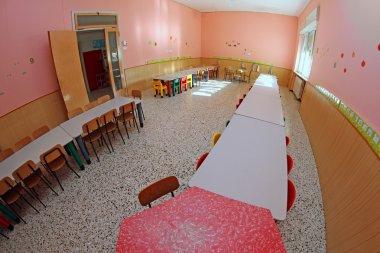 refectory benches in a kindergarten child nursery