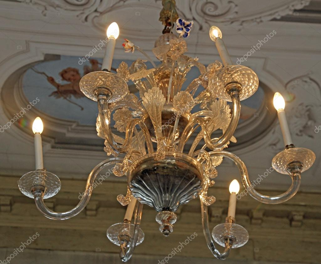 expensive crystal chandelier made with murano glass — Stock Photo ...