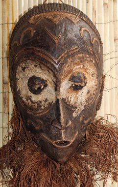 wood mask used by sorcerers and shamans during ceremonies in Afr