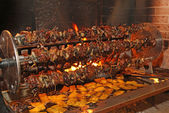 birds and roasts on a spit in the fireplace