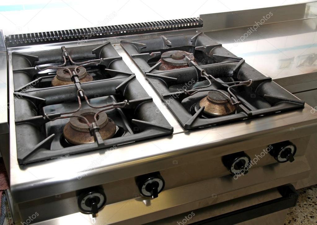 Vier gas kachel industriële keuken u stockfoto chiccododifc