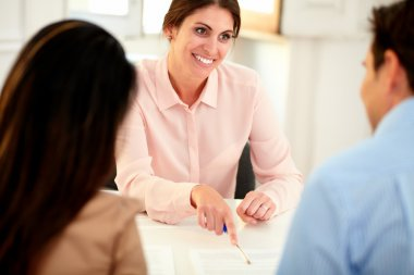 Lovely financial advisor woman working at office