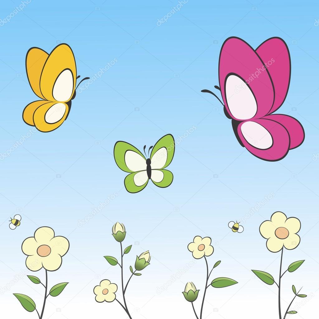 Dibujos Animados De Mariposas Y Flores Archivo Imágenes