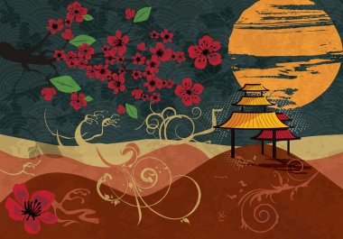 Traditional Japanese background with cherry blossom, vector