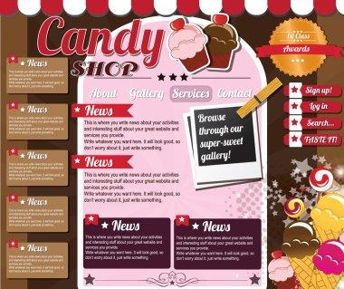 Website template elements, vintage style, candy shop