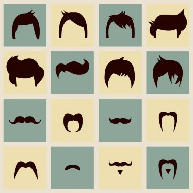 I love vintage hipster hair styles and mustaches, vector illustration clip art vector