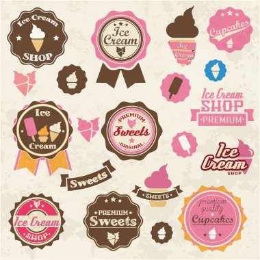 Collection of vintage retro ice cream and cupcake labels, stickers, badges and ribbons, vector illustration