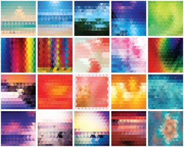 Collection of 20 abstract triangles backgrounds, pattern design, vector illustration stock vector