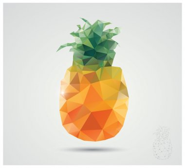 Geometric polygonal fruit, triangles, pineapple, vector illustration