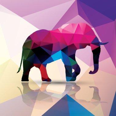 Geometric polygonal elephant, pattern design, vector illustration